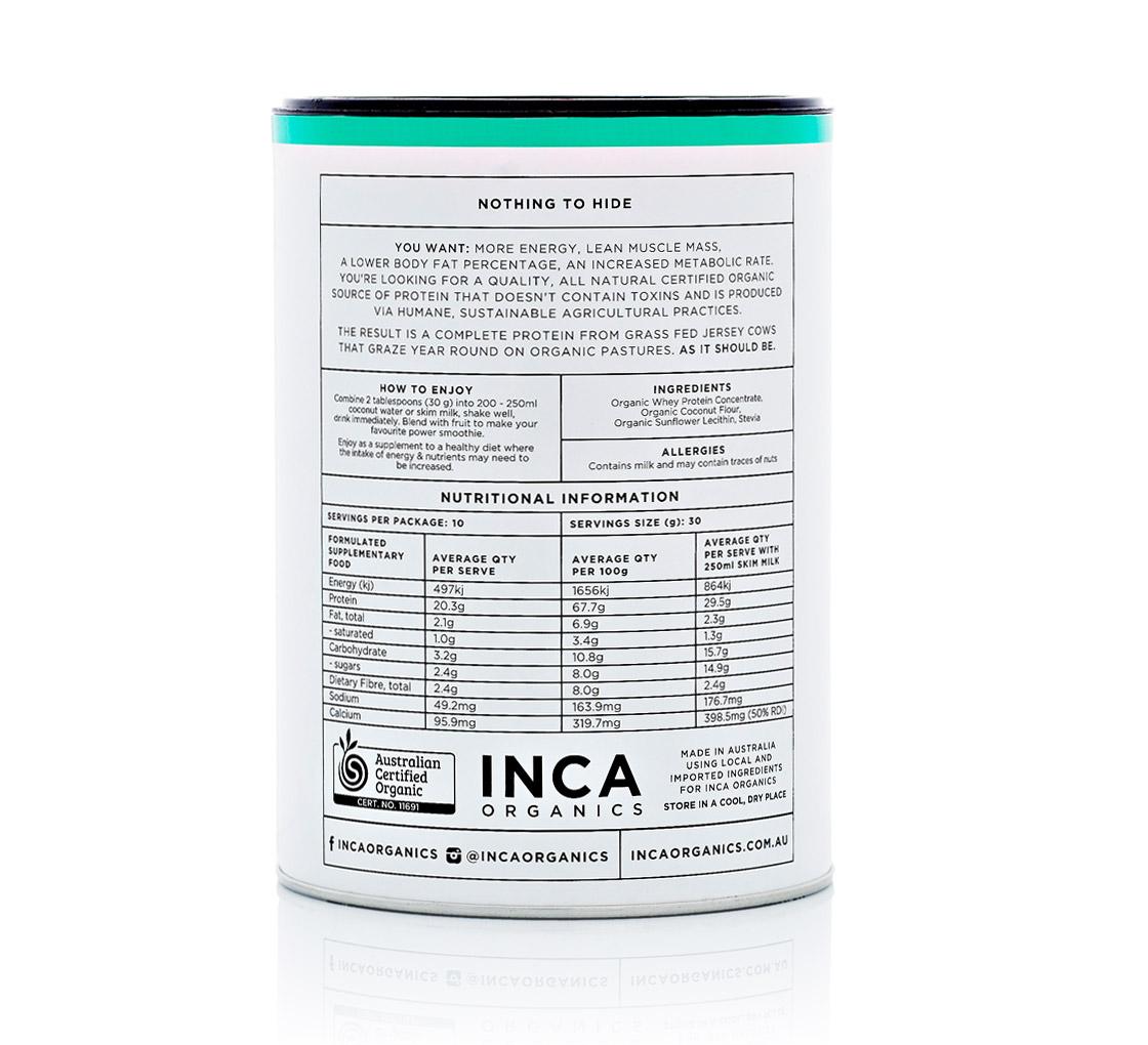Inca Organics » Organic Whey Protein Powder (Coconut)